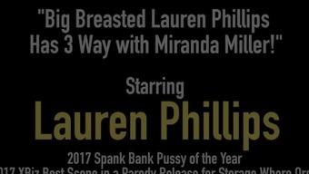Big Breasted Lauren Phillips Has 3 Way with Miranda Miller!