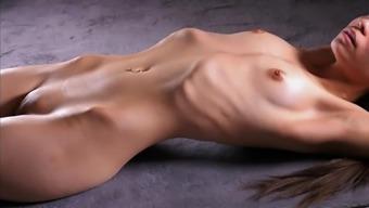 Skinny girl shows her ribs