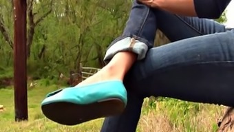 Erica green ballet flats shoeplay barefoot full video