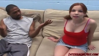 Teen Redhead trying first monster black dick