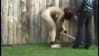 Mistress makes slave work