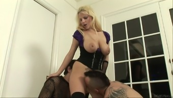 Luscious milf invites two studs over for a raunchy mmf action