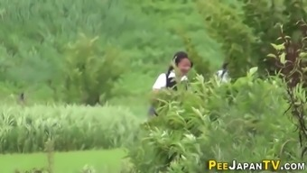 Naughty japan teens pee