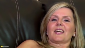 Amazing amateur mature mother on leather couch