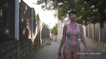 One-piece transparent swimsuit