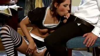 The hottest maid ever in the history is fucking her boss