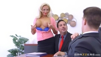 olivia fox using her big tits to secure new talents for the company