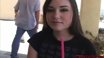 Teen Sasha Grey in her first interracial sex