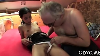 Teen playgirl gets bald cunt banged hard by old dick