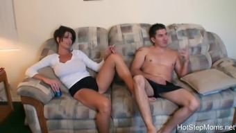 Big fake tittied brunette plays at home with hot boy