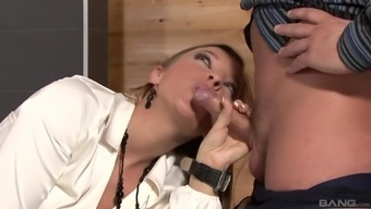 Morgan Moon and her friend ride two dicks in a restaurant