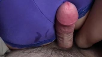 Wife give handjob and I cum on her sexy satin panties
