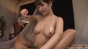 Slippery oiled up sex starring a curvy Japanese girl
