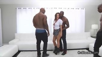 big tit coed on 5 big black dicks