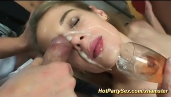 her first extreme bukkake party sex
