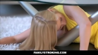 Step mom stuck under table and step son fucks