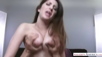 brunette ho with dangling tits karina white serves a cock in pov