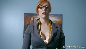 Classy secretary Lauren Phillips makes her boss relaxed by fucking him