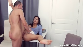 Secretary babe with big sexy tits fucked up the ass