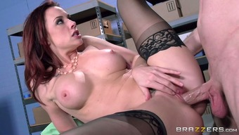 Kinky pussy man pleases super hot redhead bitch with solid cunnilingus and rim job in the office