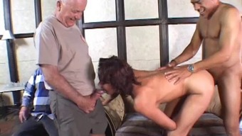 Sexy cougar with short dark hair enjoying a hardcore anal fuck