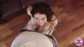 Babe sucks his cock and gets her pretty face jizzed