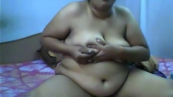 Indian cute amateur BBW girl with huge tits all naked on webcam