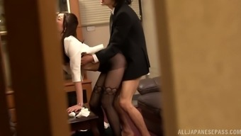 Sexy secretary goes on her boss's cock in the office