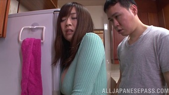 naughty wife in miniskirt rides hard cock in kitchen