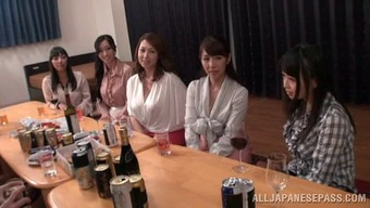 Doting Japanese girls at a party getting drunk then yell as they get fingered