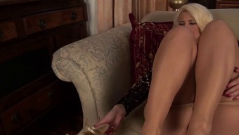 sparkly skirt nails tan pantyhose milf