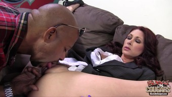 Tiffany Mynx gives hand to a black stud and lets him smash her twat