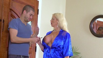 Cougar mom fucked in the shower by lucky step son