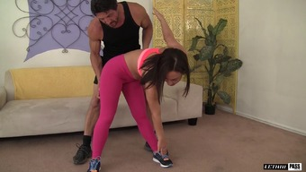 Her yoga instructor helps her work out then feeds her his cock