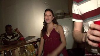 Ebony babe's fucked by her boyfriend in a party