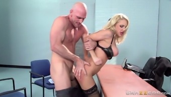 Lingerie clad blonde office girl gives a blazing tit job after an orgasmic pounding