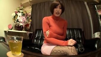 Asian Beautiful Female Teacher Showing Her Second Job
