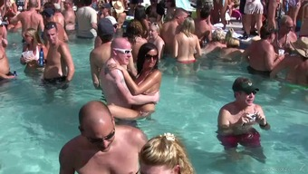 Crazy pool party transforms into flasher's show in reality clip