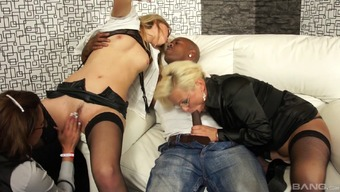 Elegant bisexual chicks riding the sausage of the lucky chocolate guy