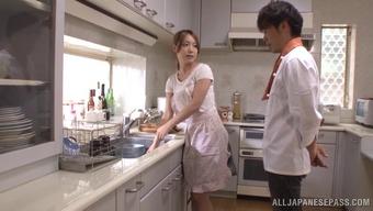 Japanese wife Ayaka Fujikita enjoys serious sex at home