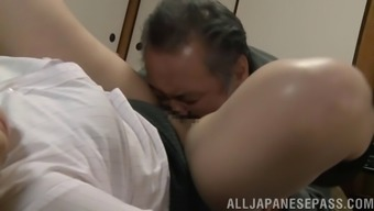 Older mature Japanese woman fucking her boss in the office