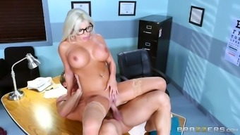 One of the hottest blonde doctors ever is ready for the doggy sex