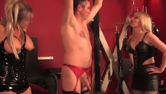 BDSM fetish milfs dominate some weird dude