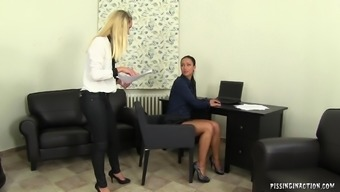 Dirty blonde boss pissing on her slutty secretary's face and body