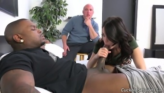 Whore wife Ava Dalush gives her head to horny BBC in the presence of cuckold husband