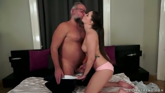 Angelina Brill is a hot young chick who prefers dirty sex with old dudes