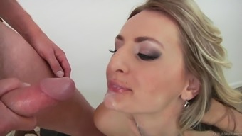 Captivating milf with natural tits swallows cum after getting pounded hardcore anal