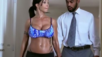 Raven haired lusty MILF with big silicone jugs gives a head to black BF in bath