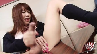 Wild Japanese shemale thrilled as she strokes her cock till orgasm