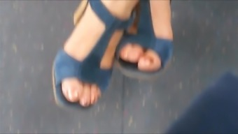 Candid Sandals In Bus